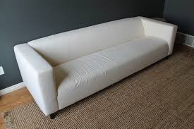 White Leather Sofa Ikea by Decoration Ideas Fancy White Embossed Fabric Sofa With Dark Brown