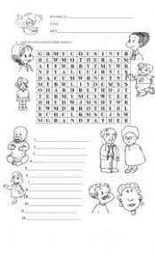 esl kids worksheets family wordsearch