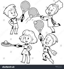 cartoon kids playing tennis vector clip stock vector 276181580