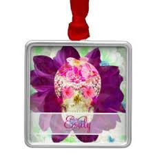 flower sugar skull tree decorations ornaments zazzle