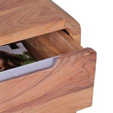 Schreibtisch Holz Schubladen Wohnling Rollcontainer Akazie Massivholz Design Schubladenschrank