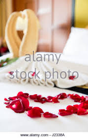 Rose Petals Room Decoration Towel As Birds Decoration With Red Rose Petals On White Clean Bed