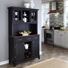 home styles large buffet with two glass door hutch black with