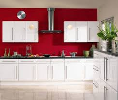 Red Kitchen With White Cabinets Red Kitchen Wall Decor Outofhome