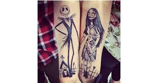 nightmare before christmas tattoos disney couple tattoos