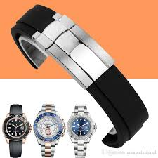 man rubber bracelet images Waterproof rubber watchband stainless steel fold buckle watch band jpg