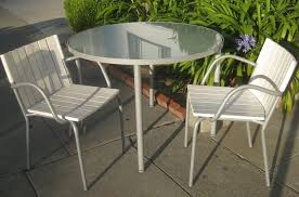 White Glass Patio Table Outdoor Compact White Patio Chairs With Glass Top Table
