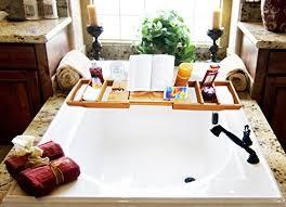 bathtub caddy with book holder purvae luxury bathtub caddy with candle book holder natural