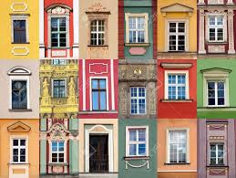colorful building set of windows at colorful front of building stock photo picture