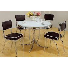amazon com 5pc white u0026 chrome retro round table u0026 black chairs