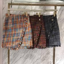 purebliss 2017 women winter autumn plaid tweed short skirt tassel