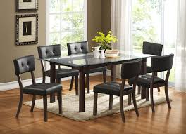 Espresso Dining Room Furniture Homelegance Clarity Glass Top Dining Table In Espresso Beyond Stores