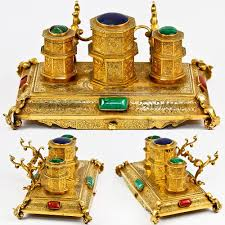 Desk Accessory Set by Antique Dore Bronze Inkwell Desk Stand French Or Russian