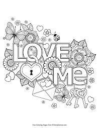 Printable Coloring Page Valentineu0027s Day Coloring Page Love Me Printable Coloring Pages