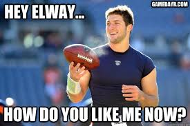 Broncos Defense Meme - phantom ballplayer peyton manning vs tim tebow aka the dumbest