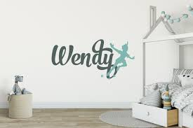 children and nursery stickers 40 colours easy to remove peter pan girls name wall sticker