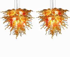 Art Glass Chandeliers Amber Sunshine Large Hand Blown Art Glass Chandelier
