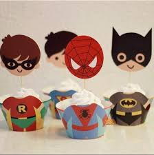 24pcs avengers cupcakes bounded and inserted card spiderman batman