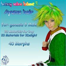fantasy anime haircut 3 ayumu hair for g3m 3d figure assets muwawya