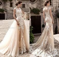wedding dress vintage vintage chagne lace mermaid wedding dresses 2017 detachable