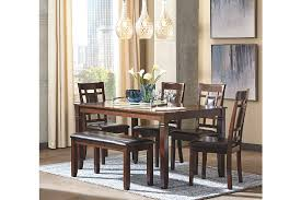 Dining Room Sets With Bench Seating by Bennox Dining Room Table And Chairs With Bench Set Of 6 Ashley