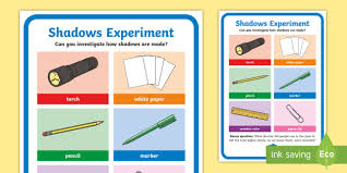 light and shadows lesson plans science light and shadows investigation prompt display poster