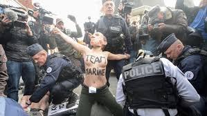au bureau henin beaumont femen arrêtées à hénin beaumont près du bureau de vote de marine le pen