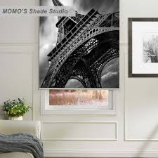 Eiffel Tower Window Curtains by Momo Thermal Insulated Blackout Fabric Custom Painting Window