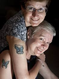 unlikely inked breast cancer survivors say matching butterfly