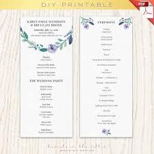 Wedding Ceremony Program Ideas Wedding Program Template Printable Printable Program Ceremony
