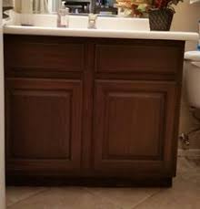 Restaining Kitchen Cabinets Without Stripping Restain Builder Grade Cabinets General Finishes Gel Stain Antique