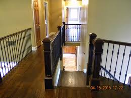 Laminate Flooring On Second Floor Wood Stairs And Rails And Iron Balusters April 2015