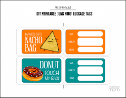 diy printable junk food luggage tags paper cutting craft and