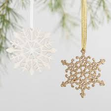 glittered wood snowflake boxed ornaments set of 24 world market