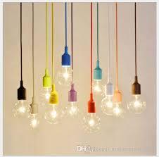 Pendant Light Socket 80cm Woven Cables 110v 220v E27 Led Colorful Silicone Pendant