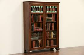 Tall Narrow Oak Bookcase by Antique Oak Bookcase With Glass Doors