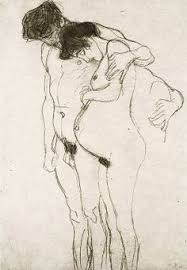 artwork by gustav klimt pregnant woman with man drawing