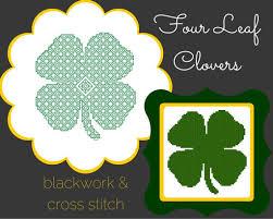 free pattern u2013 four leaf clover cross stitch u0026blackwork