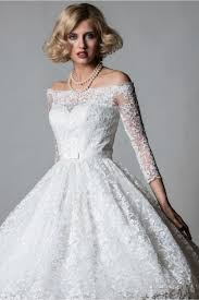 50 s wedding dresses lorna 1064 shoulder lace tea length vintage 50s wedding