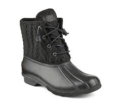 womens boots discount sperry s saltwater embossed duck boot black