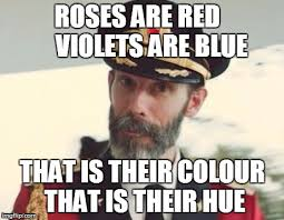 Hue Meme - roses are red violets are blue that is their colour that is their