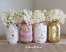 pink and rose gold mason jar centerpieces baby shower mason