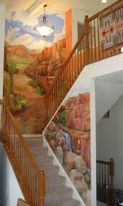 various residential murals mural photo album by denise ivey the southwest desert with brush and cacti and red stone plateaus