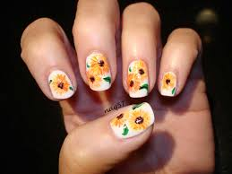 sunflower nail art design everything nails pinterest