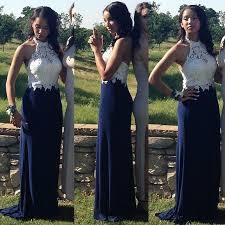 2016 white navy blue long bridesmaid dress crew lace chiffon