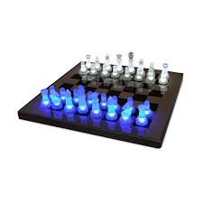 unusual chess sets led chess set chess white blue light glowing game