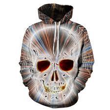 bright 3d skull spider web hoodie skull mafia