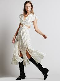 free people womens star foil jasper midi dress in natural lyst