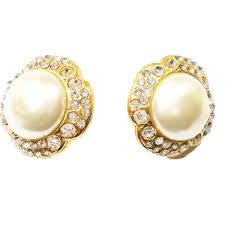 clip on pearl earrings authentic vintage chanel gold plated flower rhinestone faux pearl