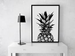 Kitchen Art Ideas by Pineapple Print Fruit Pineapple Poster Wall Art Black And